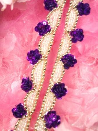 0275  Purple Gold  Floral Sequin Beaded Trim