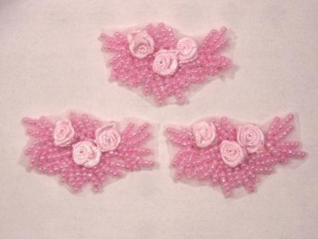"A0276  Set of 3 Pink  Ribbon Rose Appliques 2"""
