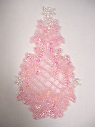 """0278  Pink Crystal Ab  Beaded Sequin Applique 6.5"""""""