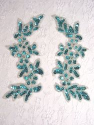"""0279 Turquoise Mirror Pair Sequin Silver Beaded Appliques 6"""""""