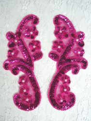 "0282 Fuchsia Mirror Pair Sequin Pearl Beaded Appliques 6"""