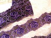 RMBL113-14 (REMNANT) Embroidered Lace Floral Trim Purple Black