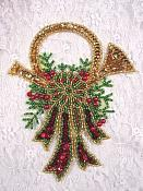 "Christmas Wreath Sequin Applique Musical Horn Beaded Patch Holiday Stocking Decoration 6"" 0293"