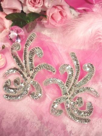 "0298 Silver Octopus Swirl Mirror Pair Sequin Appliques 6"""