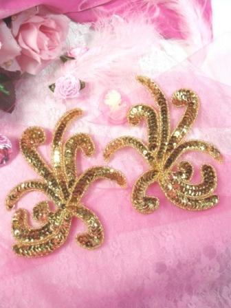 """0298 Gold Octopus Swirl Mirror Pair Sequin Appliques 6"""""""
