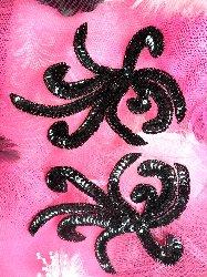 "0298 Black Octopus Swirl Mirror Pair Beaded Sequin Appliques 6"""