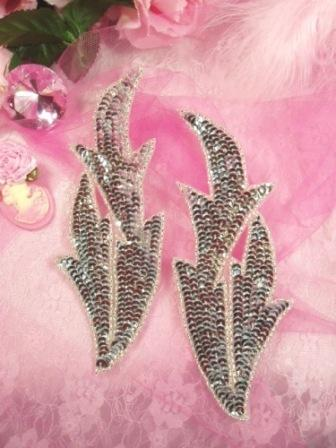 """0299 Silver Leaves Mirror Pair Sequin Beaded Appliques 7"""""""