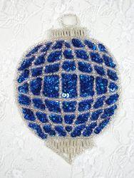 "0307 Christmas Ornament Beaded Sequin Applique 4.5"""