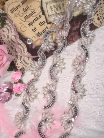 0309 Silver Pearl Sequin Beaded Applique Trim