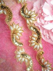 0309 Gold Pearl Sequin Beaded Applique Trim