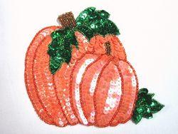 "0314  Thanksgiving Pumpkin Beaded Sequin Applique  5"""