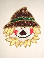 """0316  Thanksgiving Scarecrow Beaded Sequin Applique  3.5"""""""