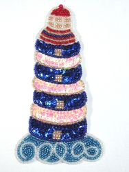 """0318  Lighthouse Beaded Sequin Applique 6"""""""