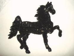 "0319  Black Stallion Horse Beaded Sequin Applique 5.75"""