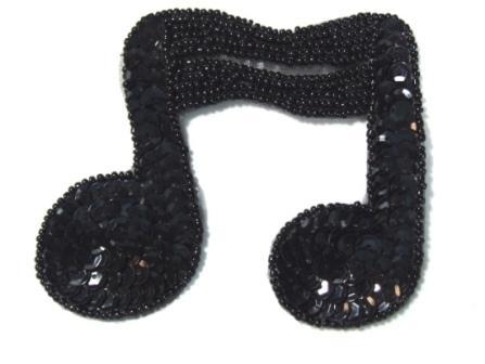 "JB144 Music Note Applique Black Double Sequin Beaded 3"""