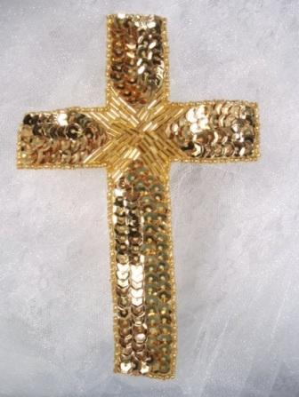 "0330  GOLD CROSS RELIGIOUS SEQUIN BEADED APPLIQUE 6"""