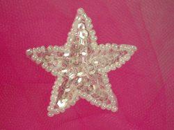 "0111 Crystal Star Sequin Beaded Applique 1.5"""