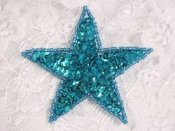 """0112  Turquoise Star Sequin Beaded Applique 2.5"""""""