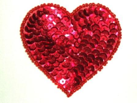 "0336 Heart Applique 2.5"" Red Valentine Sequin Beaded"