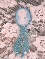 0340  Lt Blue  / Blue Victorian Cameo Dangle Beaded Applique 3.25""