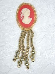 0340  Gold / Orange Victorian Cameo Dangle Sequin Applique 3.25""