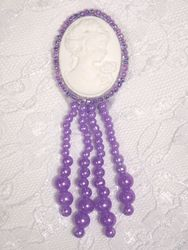 0340  Lavender  / Ivory Victorian Cameo Dangle Beaded Applique 3.25""