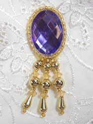 RM0341 (Reduced) Purple Gold Jewel Dangle Beaded Applique 3""