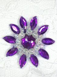 """0342 Purple  / Crystal AB Jewel Beaded Applique 1.5"""""""