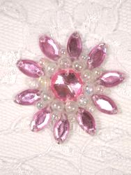 """0342  Pink / Crystal AB Jewel Beaded Applique 1.5"""""""
