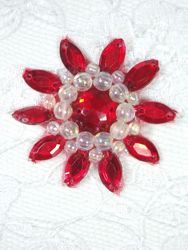"""0342  Red / Crystal AB Jewel Beaded Applique 1.5"""""""