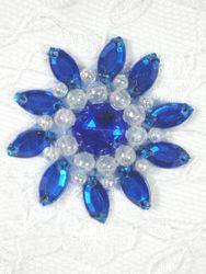 "0342  Royal Blue / Crystal AB Jewel Beaded Applique 1.5"""