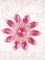 """0342  Hot Pink / Crystal AB Jewel Beaded Applique 1.5"""""""