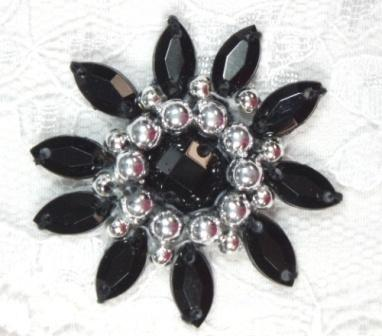 0342  Black / Silver Jewel Beaded Applique 1.5""
