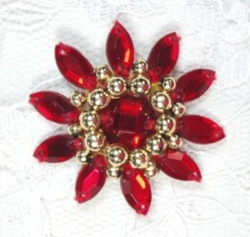 0342  Red / Gold  Jewel Beaded Applique 1.5""