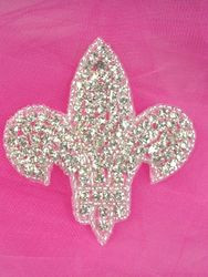 0344  Fleur de Leis Genuine Rhinestone Beaded Applique 3""