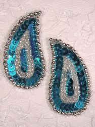 """0345 Turquoise / Silver Paisley  Mirror Pair Sequin Beaded Applique 2"""""""
