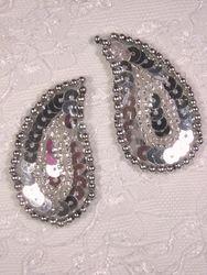 "0345 Silver Paisley  Mirror Pair Sequin Beaded Applique 2"""