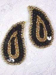 "0345  Black / Gold Paisley Mirror Pair Sequin Beaded Applique 2"""