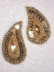 "0345  Gold Paisley  Mirror Pair  Sequin Beaded Applique 2"""