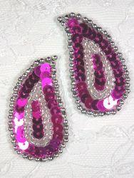 """0345  Fuchsia / Silver Paisley  Mirror Pair Sequin Beaded Applique 2"""""""
