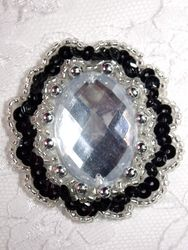 "0346  Black / Clear Jewel Sequin Beaded Applique 2"""