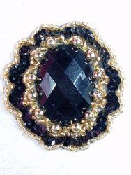 """0346 Black / Black Jewel Sequin Beaded Applique 2"""""""