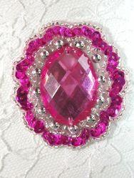 "0346 Fuchsia Silver Jewel Sequin Beaded Applique 2"""