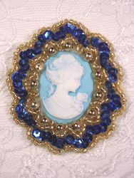 0347  Blue Gold / Blue Victorian Cameo Sequin Beaded Applique Brooch 2""