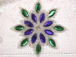 "0348  Purple / Green Snowflake Jewel Beaded Applique 3"""