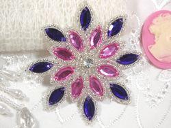 "0348  Purple / Pink Snowflake Jewel Beaded Applique 3"""