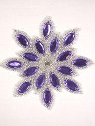 "XR32  Purple / Silver Snowflake Jewel Beaded Applique 3"""