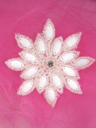 "XR32  White Snowflake Beaded Applique 3"""