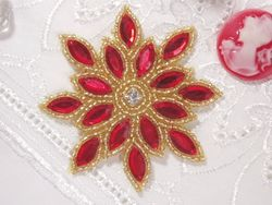 """XR32 Applique Red / Gold Snowflake Star Beaded  3"""""""