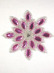 "0348  Mauve Rose / Silver Snowflake Jewel Beaded Applique 3"""